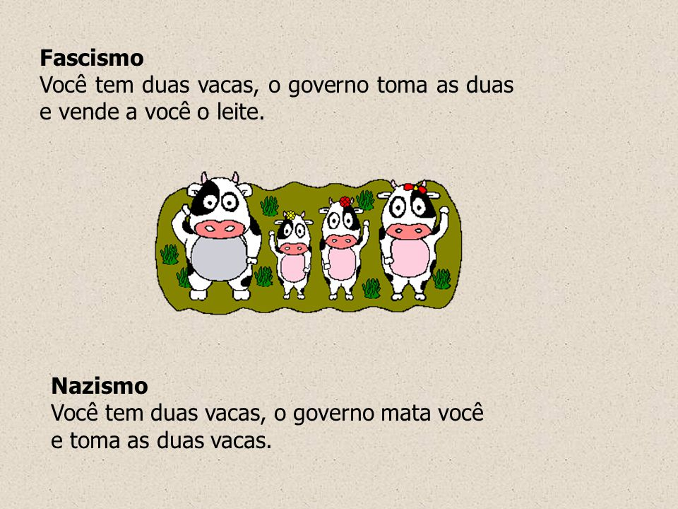 Fascismo Você tem duas vacas, o governo toma as duas e vende a você o leite. Nazismo Você tem duas vacas, o governo mata você e toma as duas vacas.