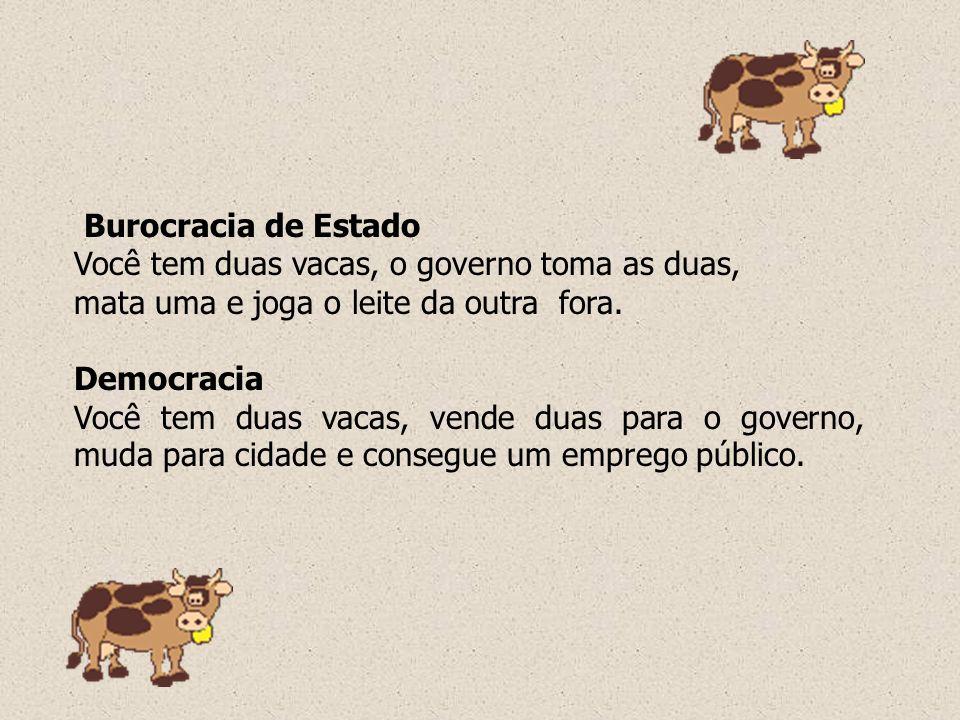 Burocracia de Estado Você tem duas vacas, o governo toma as duas, mata uma e joga o leite da outra fora. Democracia Você tem duas vacas, vende duas pa
