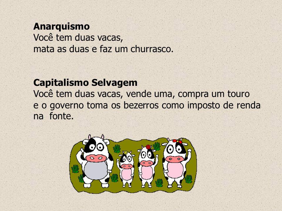 Anarquismo Você tem duas vacas, mata as duas e faz um churrasco. Capitalismo Selvagem Você tem duas vacas, vende uma, compra um touro e o governo toma