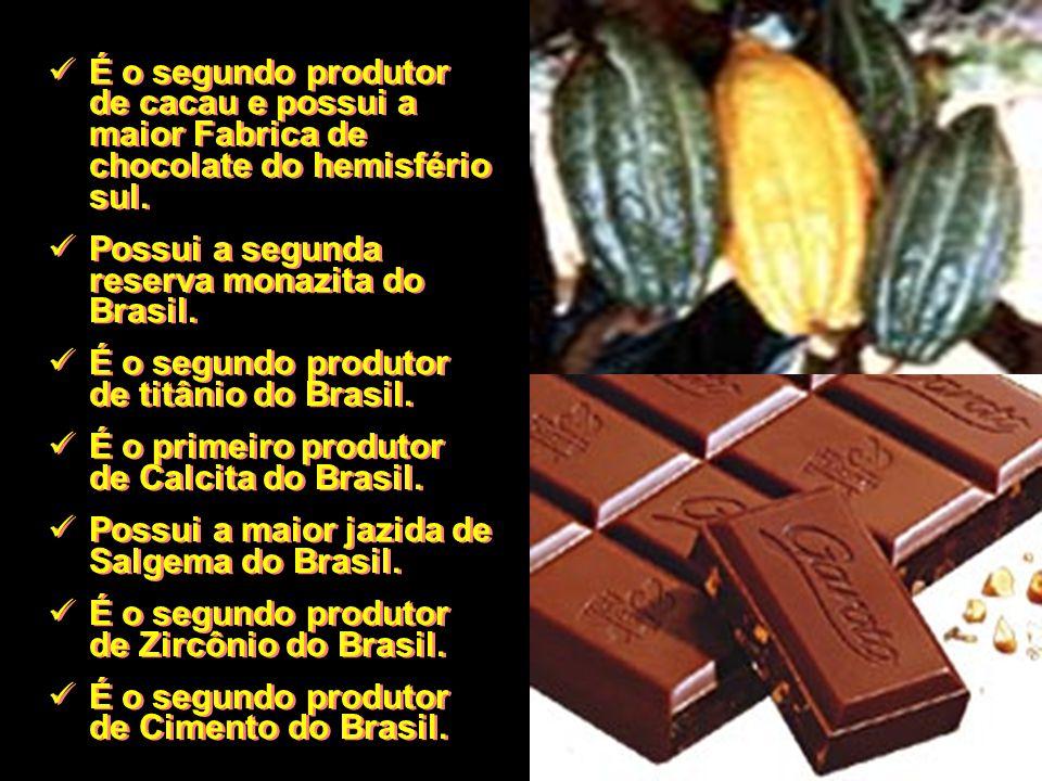 É o segundo produtor de cacau e possui a maior Fabrica de chocolate do hemisfério sul. Possui a segunda reserva monazita do Brasil. É o segundo produt