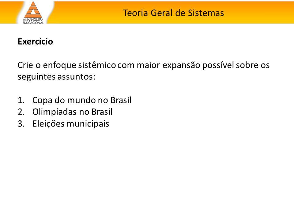 Teoria Geral de Sistemas Exercício Crie o enfoque sistêmico com maior expansão possível sobre os seguintes assuntos: 1.Copa do mundo no Brasil 2.Olimp