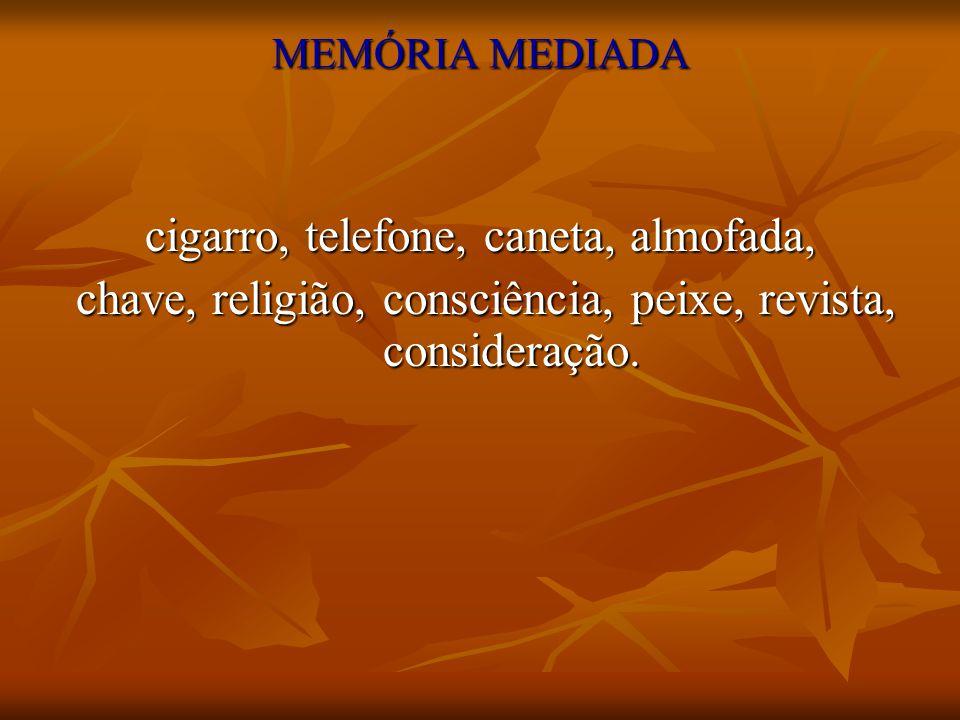 MEMÓRIA MEDIADA cigarro, telefone, caneta, almofada, chave, religião, consciência, peixe, revista, consideração. chave, religião, consciência, peixe,