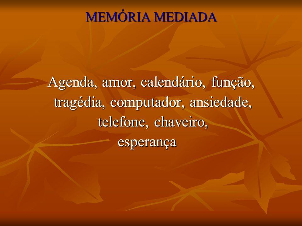 MEMÓRIA MEDIADA Agenda, amor, calendário, função, tragédia, computador, ansiedade, tragédia, computador, ansiedade, telefone, chaveiro, telefone, chav