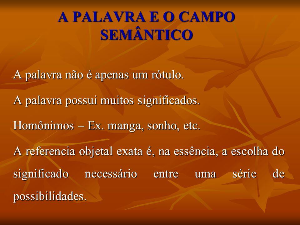 A PALAVRA E O CAMPO SEMÂNTICO A palavra não é apenas um rótulo. A palavra possui muitos significados. Homônimos – Ex. manga, sonho, etc. A referencia