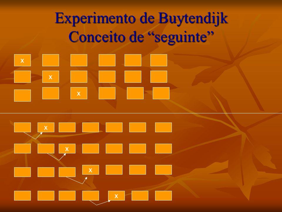 Experimento de Buytendijk Conceito de seguinte x x x x x x x