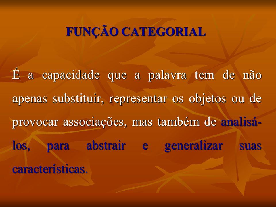 FUNÇÃO CATEGORIAL É a capacidade que a palavra tem de não apenas substituir, representar os objetos ou de provocar associações, mas também de analisá-