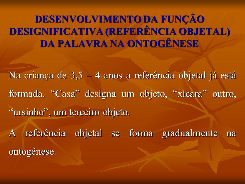 DESENVOLVIMENTO DA FUNÇÃO DESIGNIFICATIVA (REFERÊNCIA OBJETAL) DA PALAVRA NA ONTOGÊNESE Na criança de 3,5 – 4 anos a referência objetal já está formad