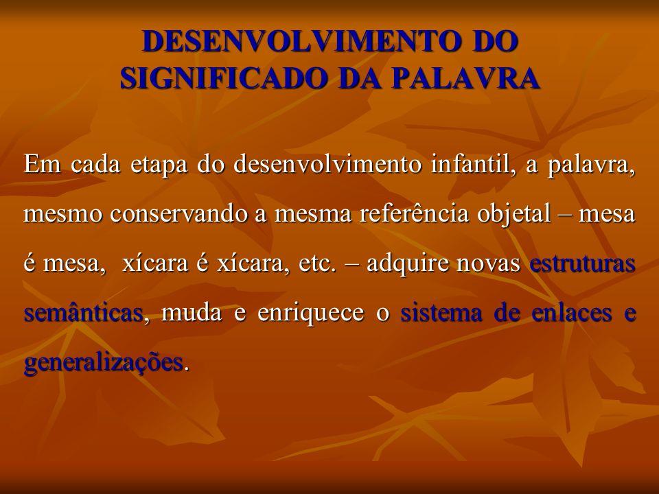 DESENVOLVIMENTO DO SIGNIFICADO DA PALAVRA Em cada etapa do desenvolvimento infantil, a palavra, mesmo conservando a mesma referência objetal – mesa é