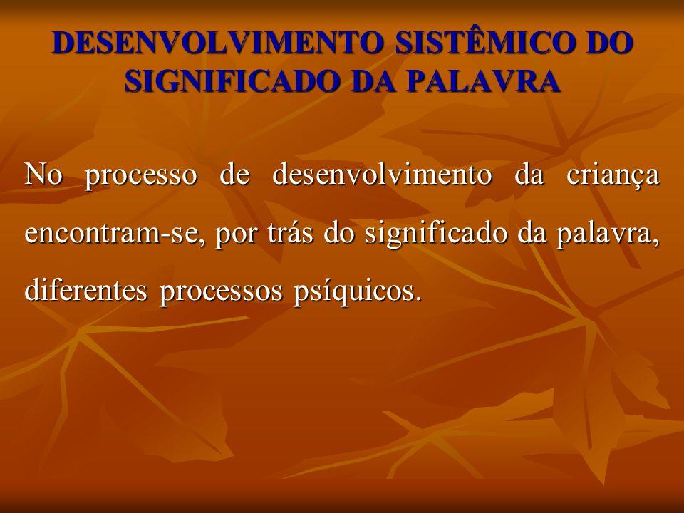 DESENVOLVIMENTO SISTÊMICO DO SIGNIFICADO DA PALAVRA No processo de desenvolvimento da criança encontram-se, por trás do significado da palavra, difere
