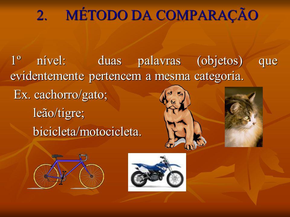 2.MÉTODO DA COMPARAÇÃO 1º nível: duas palavras (objetos) que evidentemente pertencem a mesma categoria. Ex. cachorro/gato; leão/tigre; bicicleta/motoc