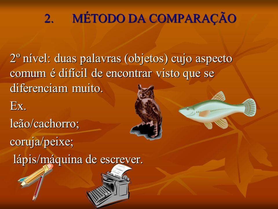 2. MÉTODO DA COMPARAÇÃO 2º nível: duas palavras (objetos) cujo aspecto comum é difícil de encontrar visto que se diferenciam muito. Ex.leão/cachorro;c