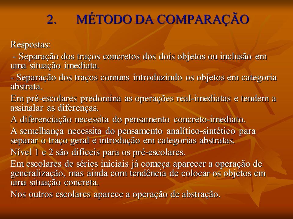 2. MÉTODO DA COMPARAÇÃO Respostas: - Separação dos traços concretos dos dois objetos ou inclusão em uma situação imediata. - Separação dos traços conc