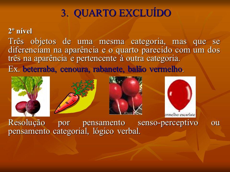 3. QUARTO EXCLUÍDO 2º nível Três objetos de uma mesma categoria, mas que se diferenciam na aparência e o quarto parecido com um dos três na aparência