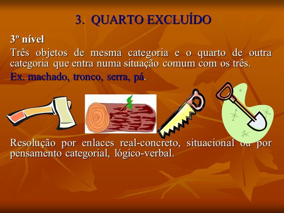 3. QUARTO EXCLUÍDO 3º nível Três objetos de mesma categoria e o quarto de outra categoria que entra numa situação comum com os três. Ex. machado, tron