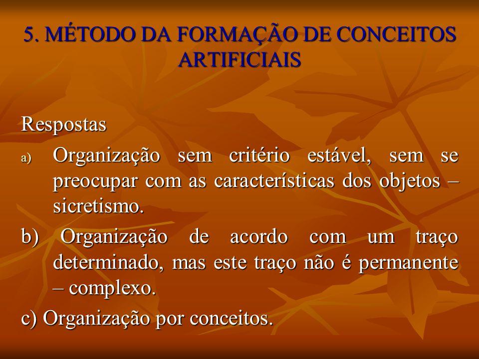 5. MÉTODO DA FORMAÇÃO DE CONCEITOS ARTIFICIAIS Respostas a) Organização sem critério estável, sem se preocupar com as características dos objetos – si