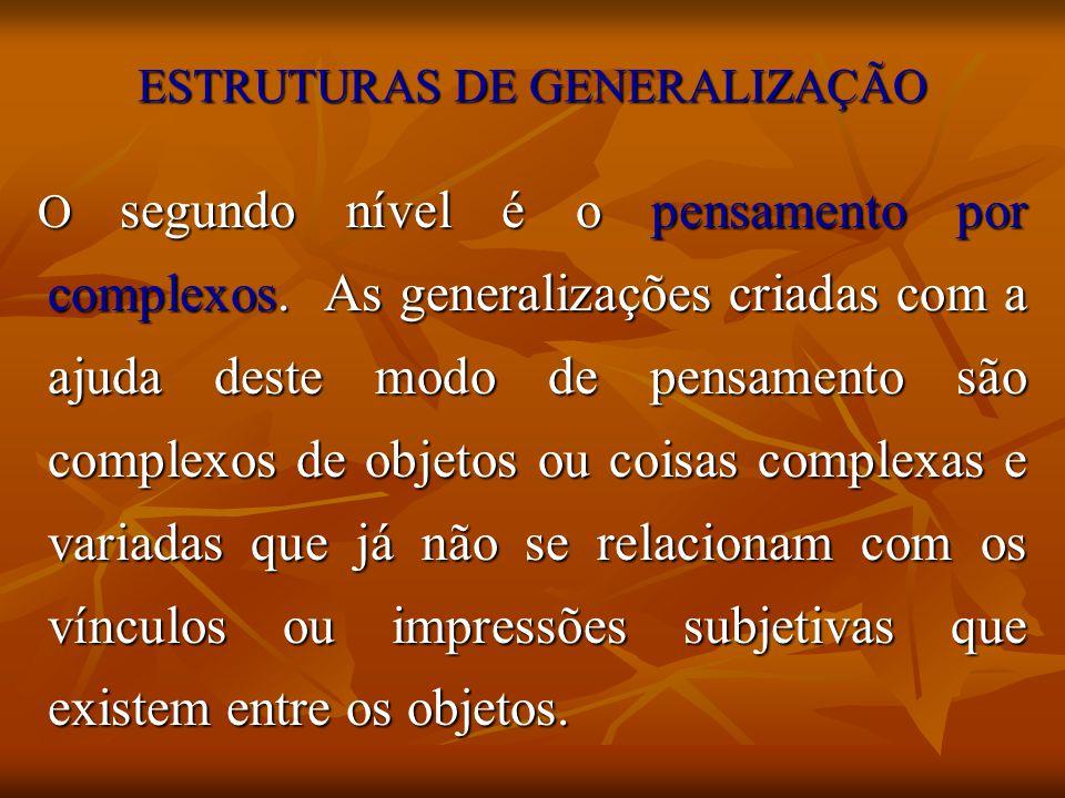 ESTRUTURAS DE GENERALIZAÇÃO O segundo nível é o pensamento por complexos. As generalizações criadas com a ajuda deste modo de pensamento são complexos