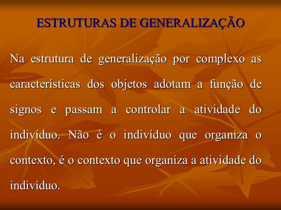 ESTRUTURAS DE GENERALIZAÇÃO Na estrutura de generalização por complexo as características dos objetos adotam a função de signos e passam a controlar a