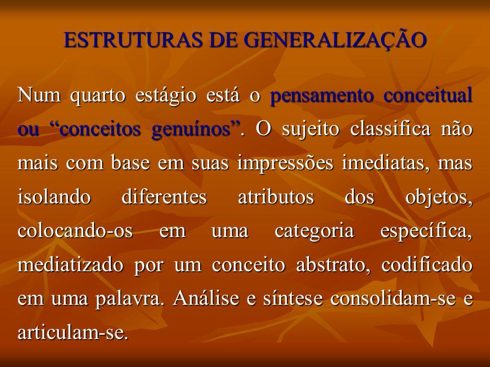 ESTRUTURAS DE GENERALIZAÇÃO Num quarto estágio está o pensamento conceitual ou conceitos genuínos. O sujeito classifica não mais com base em suas impr