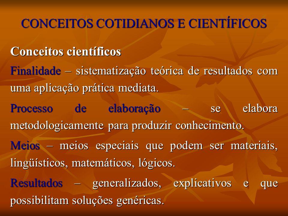 CONCEITOS COTIDIANOS E CIENTÍFICOS Conceitos científicos Finalidade – sistematização teórica de resultados com uma aplicação prática mediata. Processo