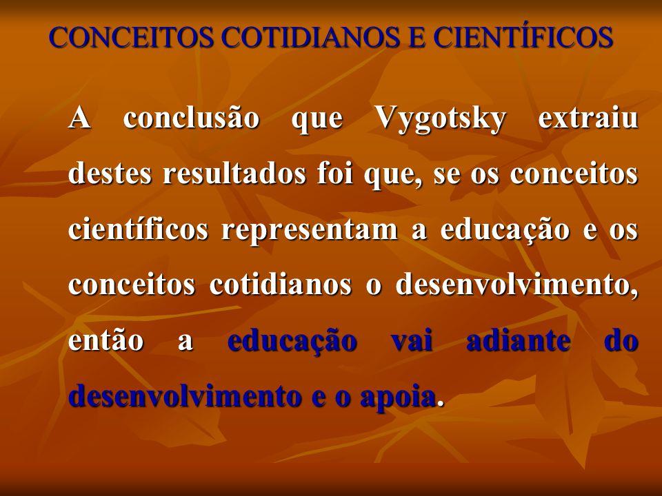 CONCEITOS COTIDIANOS E CIENTÍFICOS A conclusão que Vygotsky extraiu destes resultados foi que, se os conceitos científicos representam a educação e os