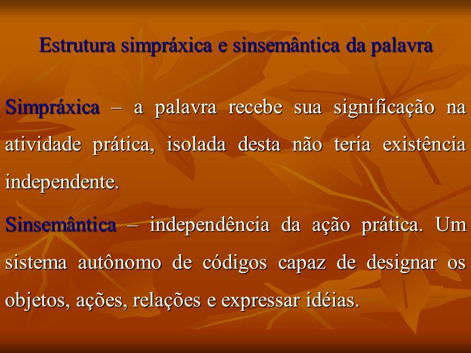 Estrutura simpráxica e sinsemântica da palavra Simpráxica – a palavra recebe sua significação na atividade prática, isolada desta não teria existência