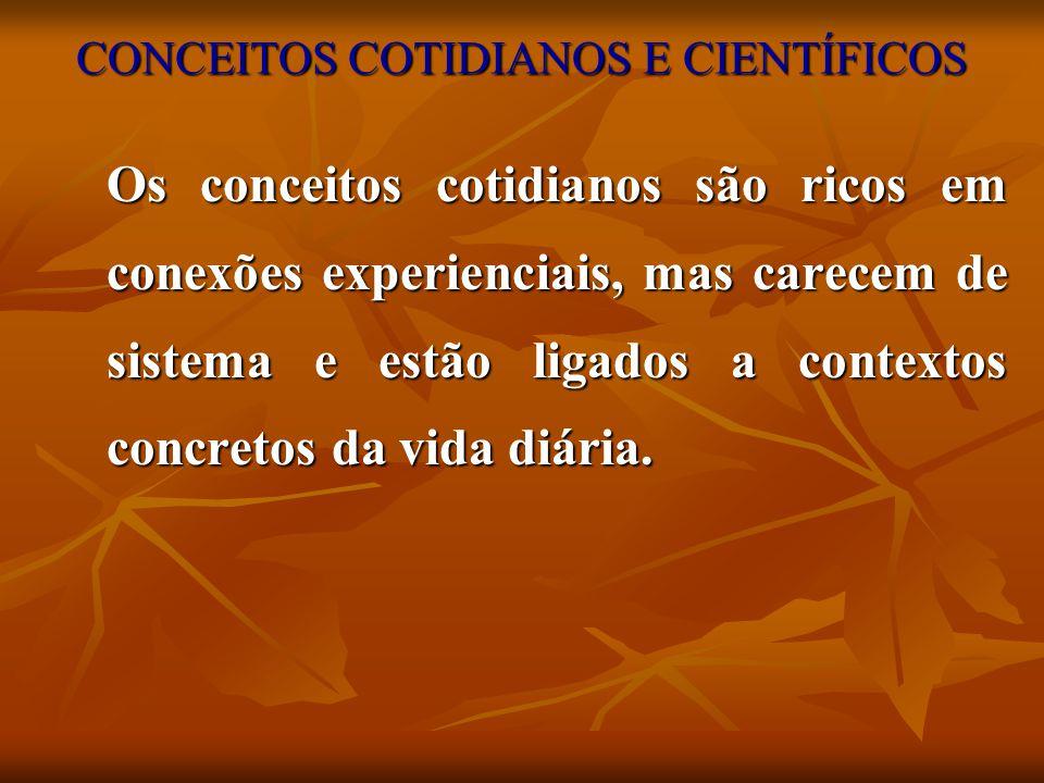 CONCEITOS COTIDIANOS E CIENTÍFICOS Os conceitos cotidianos são ricos em conexões experienciais, mas carecem de sistema e estão ligados a contextos con