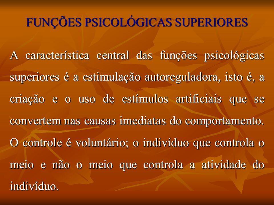 FUNÇÕES PSICOLÓGICAS SUPERIORES A característica central das funções psicológicas superiores é a estimulação autoreguladora, isto é, a criação e o uso
