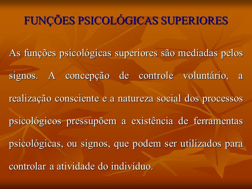 FUNÇÕES PSICOLÓGICAS SUPERIORES As funções psicológicas superiores são mediadas pelos signos. A concepção de controle voluntário, a realização conscie