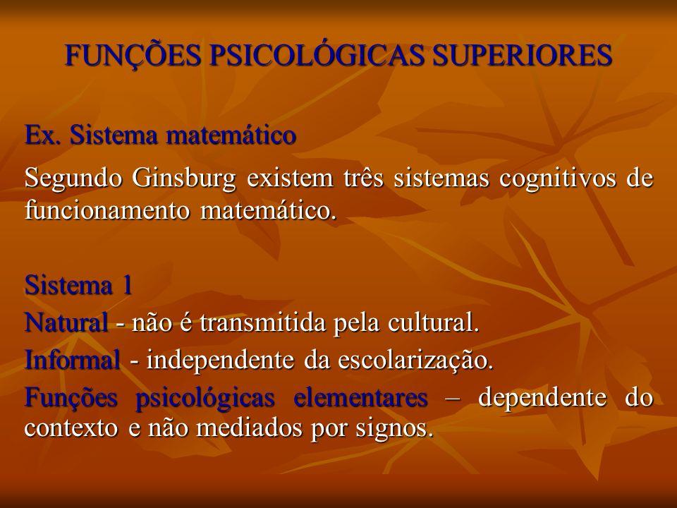 FUNÇÕES PSICOLÓGICAS SUPERIORES Ex. Sistema matemático Segundo Ginsburg existem três sistemas cognitivos de funcionamento matemático. Sistema 1 Natura