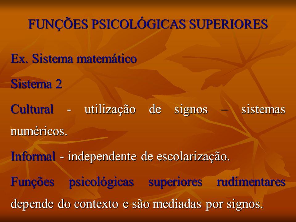 FUNÇÕES PSICOLÓGICAS SUPERIORES Ex. Sistema matemático Sistema 2 Cultural - utilização de signos – sistemas numéricos. Informal - independente de esco
