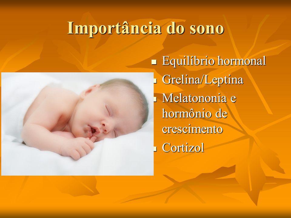 Importância do sono Equilíbrio hormonal Equilíbrio hormonal Grelina/Leptina Grelina/Leptina Melatononia e hormônio de crescimento Melatononia e hormônio de crescimento Cortizol Cortizol