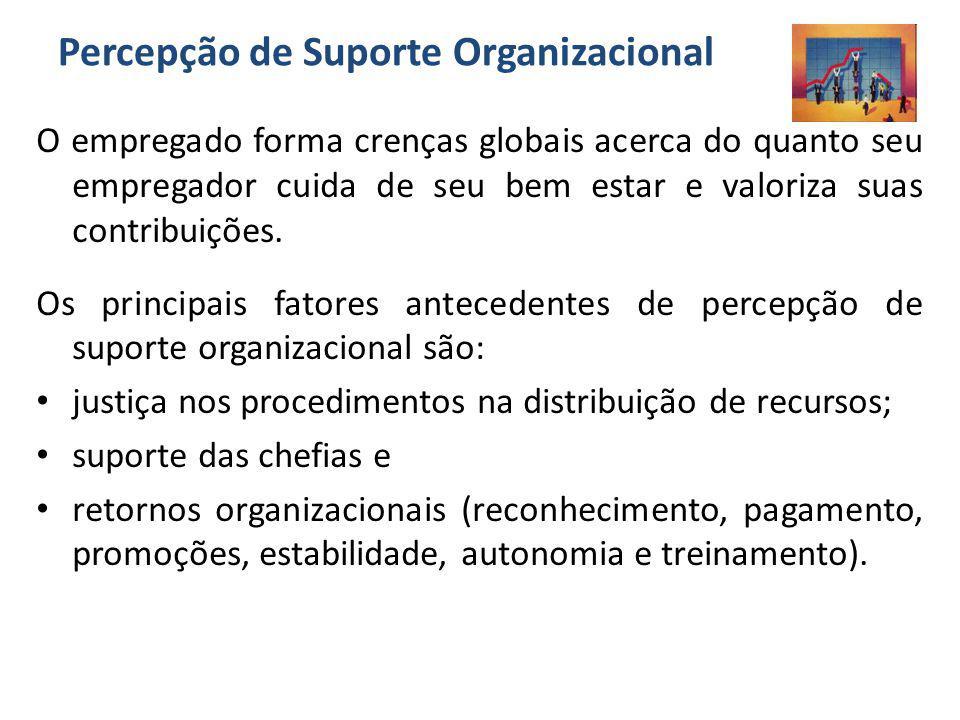 Percepção de Suporte Organizacional O empregado forma crenças globais acerca do quanto seu empregador cuida de seu bem estar e valoriza suas contribui