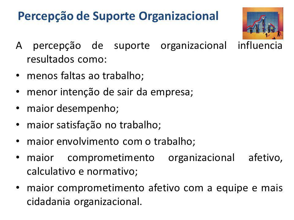Percepção de Suporte Organizacional A percepção de suporte organizacional influencia resultados como: menos faltas ao trabalho; menor intenção de sair