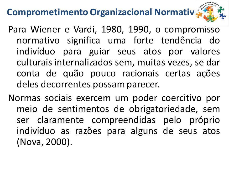 Comprometimento Organizacional Normativo Para Wiener e Vardi, 1980, 1990, o compromisso normativo significa uma forte tendência do indivíduo para guia