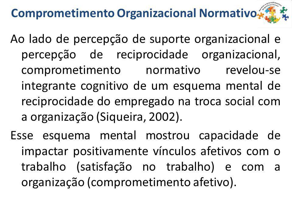 Comprometimento Organizacional Normativo Ao lado de percepção de suporte organizacional e percepção de reciprocidade organizacional, comprometimento n