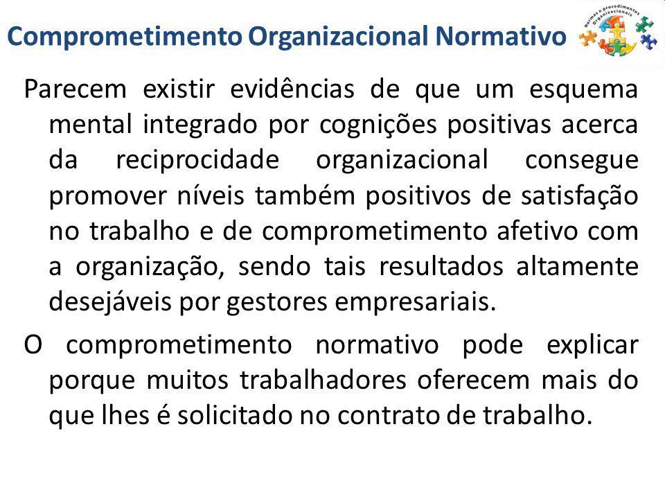 Comprometimento Organizacional Normativo Parecem existir evidências de que um esquema mental integrado por cognições positivas acerca da reciprocidade