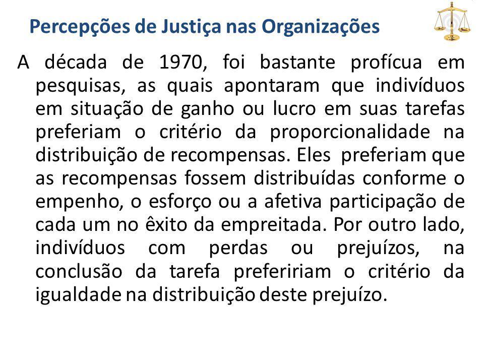 Percepções de Justiça nas Organizações A década de 1970, foi bastante profícua em pesquisas, as quais apontaram que indivíduos em situação de ganho ou