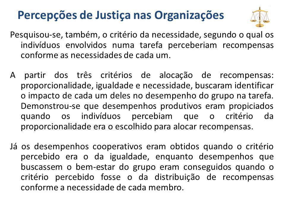 Percepções de Justiça nas Organizações Pesquisou-se, também, o critério da necessidade, segundo o qual os indivíduos envolvidos numa tarefa perceberia