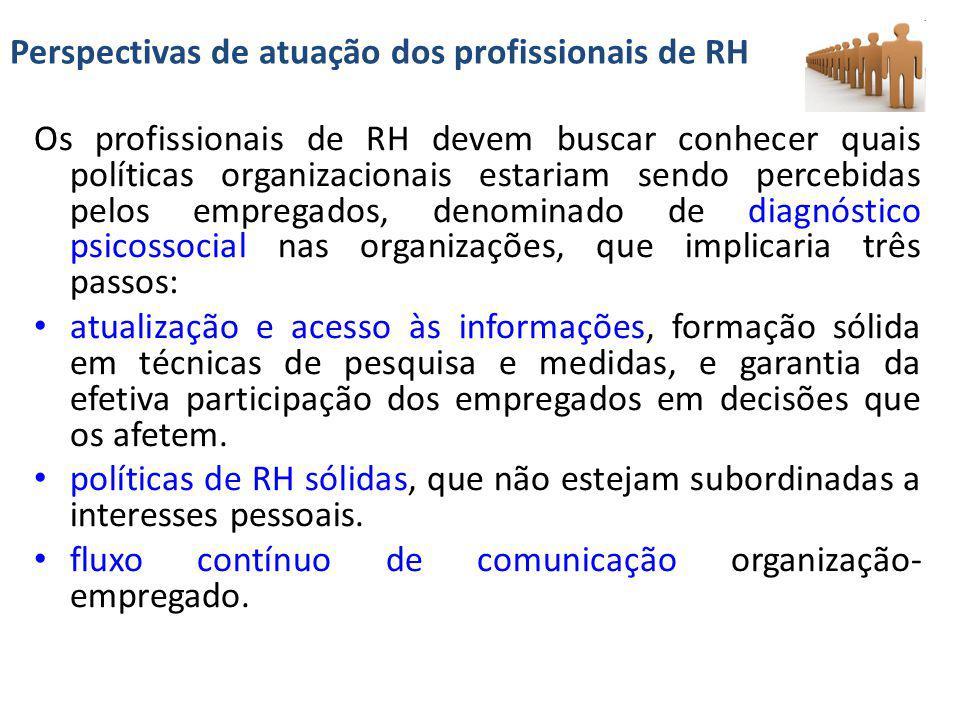 Perspectivas de atuação dos profissionais de RH Os profissionais de RH devem buscar conhecer quais políticas organizacionais estariam sendo percebidas
