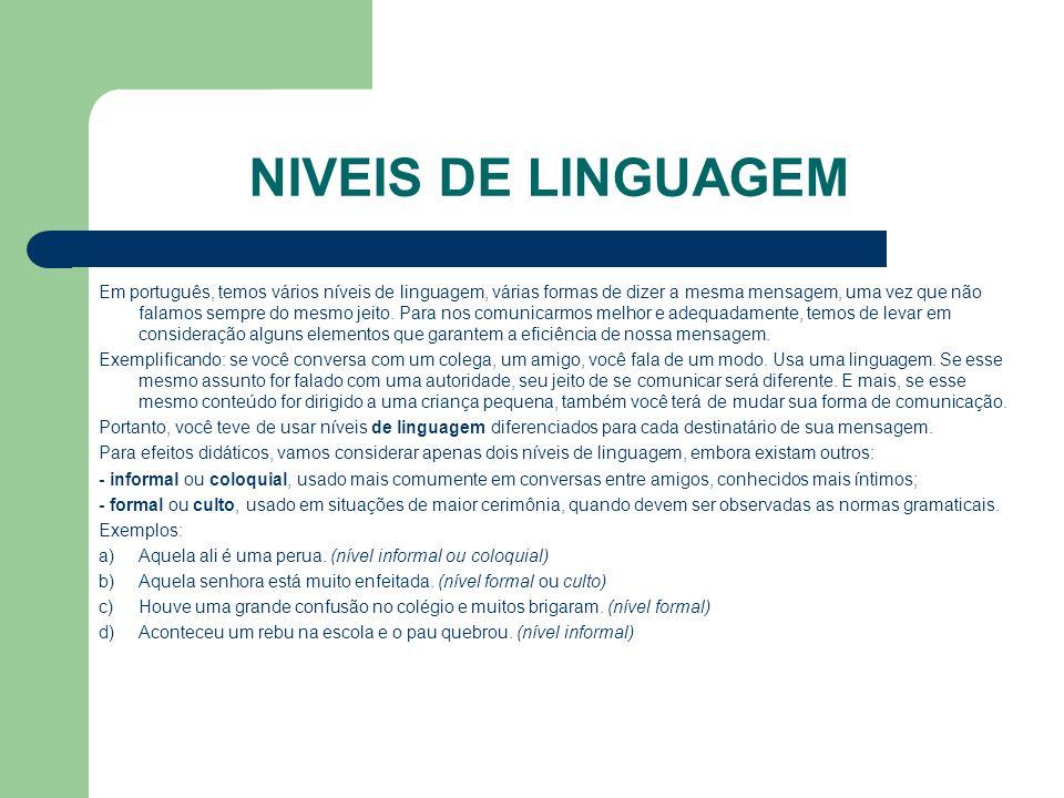 NIVEIS DE LINGUAGEM Em português, temos vários níveis de linguagem, várias formas de dizer a mesma mensagem, uma vez que não falamos sempre do mesmo j