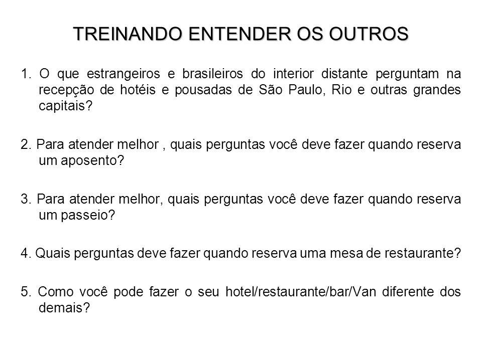 TREINANDO ENTENDER OS OUTROS 1. O que estrangeiros e brasileiros do interior distante perguntam na recepção de hotéis e pousadas de São Paulo, Rio e o