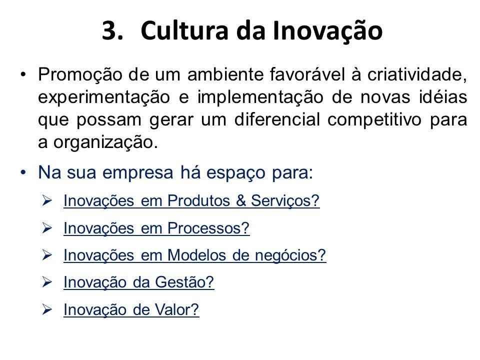 3.Cultura da Inovação Promoção de um ambiente favorável à criatividade, experimentação e implementação de novas idéias que possam gerar um diferencial