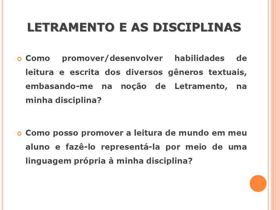 LETRAMENTO E AS DISCIPLINAS Como promover/desenvolver habilidades de leitura e escrita dos diversos gêneros textuais, embasando-me na noção de Letrame