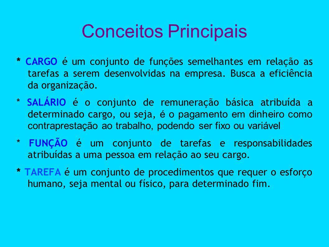 Conceitos Principais * CARGO é um conjunto de funções semelhantes em relação as tarefas a serem desenvolvidas na empresa. Busca a eficiência da organi