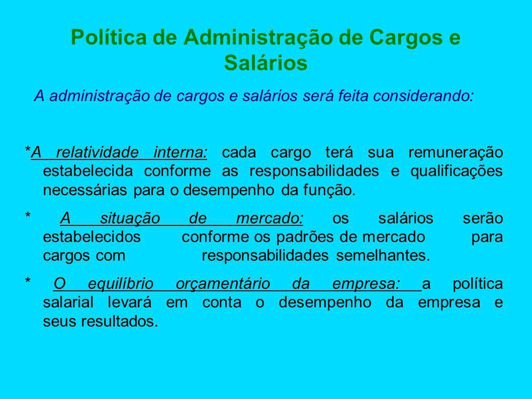 Política de Administração de Cargos e Salários A administração de cargos e salários será feita considerando: *A relatividade interna: cada cargo terá