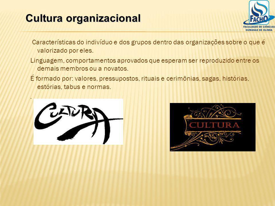 Características do indivíduo e dos grupos dentro das organizações sobre o que é valorizado por eles. Linguagem, comportamentos aprovados que esperam s