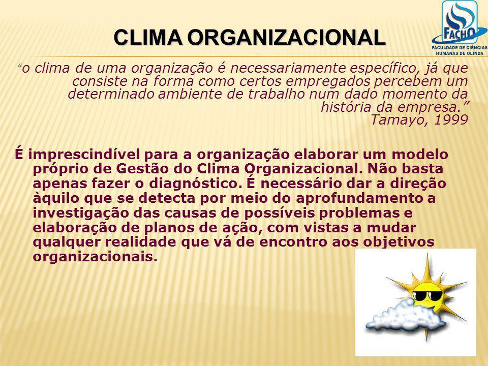 o clima de uma organização é necessariamente específico, já que consiste na forma como certos empregados percebem um determinado ambiente de trabalho