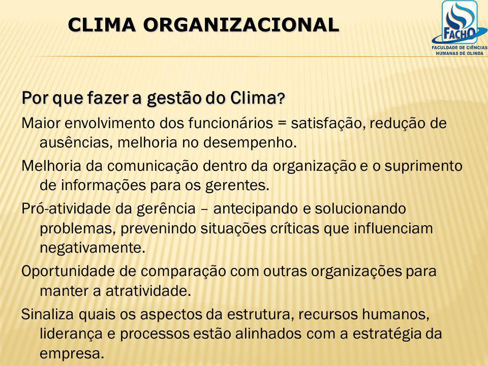Por que fazer a gestão do Clima ? Maior envolvimento dos funcionários = satisfação, redução de ausências, melhoria no desempenho. Melhoria da comunica