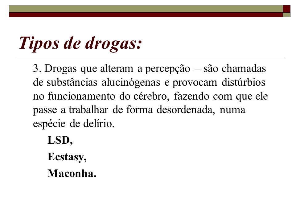 Tipos de drogas: 3. Drogas que alteram a percepção – são chamadas de substâncias alucinógenas e provocam distúrbios no funcionamento do cérebro, fazen