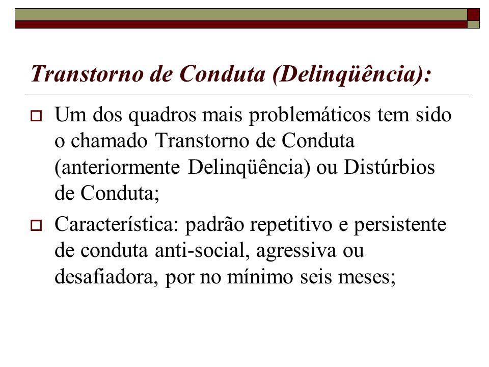 Transtorno de Conduta (Delinqüência): Um dos quadros mais problemáticos tem sido o chamado Transtorno de Conduta (anteriormente Delinqüência) ou Distú